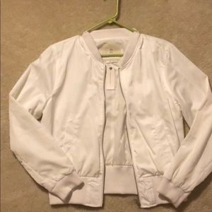 Women's Anthropologie White Bomber Jacket
